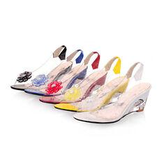 Damen Schuhe Sling Pumps Peeptoe Sandaletten Keilabsatz Blumen Gr.34-41