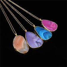 Magical Agate Druzy Emperor Quartz stone Natural Gold Pendant Necklace SEAU