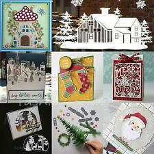 Christmas House Village Metal Cutting Dies Tree Santa Stencil Craft Cards Making
