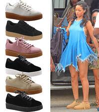 Señoras Mujeres Plataforma Con Cordones Plano Escuela Planas Zapatillas Creepers Zapatos Talla