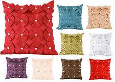 "Large 56x56cm / 22x22"" Faux Silk Diamante Cushion Cover Ruffled Rose Red Black"