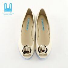Le Bunny Bleu Size 8.5 Flats Ballet Simple Soft Suede Dress Shoes Ivory