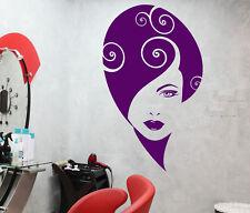 Vinyl Wall Decal Abstract Girl Face Beauty Hair Salon Makeup Stickers (2675ig)