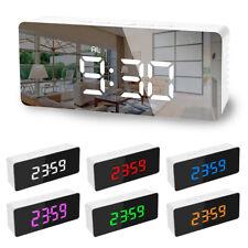 Fashion Mirror Digital Bedside LED Snooze Alarm Clock Time Temperature Clock 41