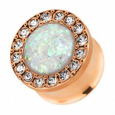 Flesh Ohr Plug Tunnel Piercing Edelstahl Rosegold IP mit Kristallen und Opal