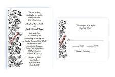 100 Personalized Custom Scroll Flourish Bridal Wedding Invitations Set