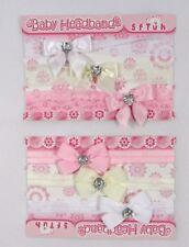 I neonati Baby Ragazze Cerchietti per Capelli Accessorio Battesimo Cuore Papillon con pizzo 3 Pack 50