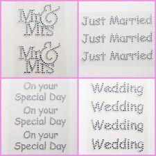 Diamante Wedding Stickers - Self Adhesive Peel Off Gems - Mr & Mrs - Cards