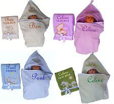 Set aus Babydecke + Kapuzenhandtuch bestickt mit Namen Geschenk Baby Taufe Gebur