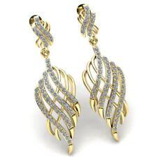 1ctw Round Cut Diamond Ladies Bridal Interwoven Dangling Earrings 18K Gold