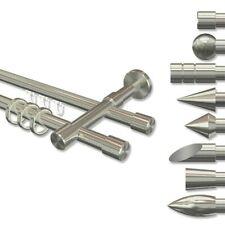 Edelstahl Gardinenstange Vorhangstange 16 mm Ø viele Größen Typ Kappe uvm.