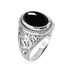 10K White Gold Om (Aum) Black Onyx Gemstone Yoga Statement Ring