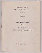 AMBASCIATA.D'ITALIA-NOTE INTRODUTTIVE  24TH MOSTRA AERONAUTICA DI FARNBOROUGH