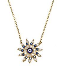 "Evil Eye Sun Flower Shape Cubic Zirconia CZ Encrusted Pendant Chain Necklace 17"""