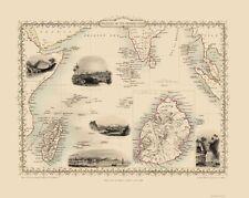 Old Oceania Map - Indian Ocean Islands - Tallis 1851 - 23 x 28.83