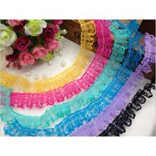 "1/10Yards Pleated Organza Lace Edge Trim Gathered Wedding Elastic Ribbon 0.95"""