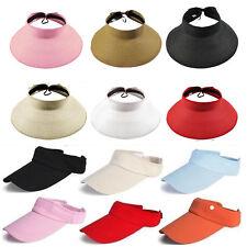 Women Sun Visor Cap Roll Up Foldable Beach Straw Hat Adjustable Golf Tennis Caps