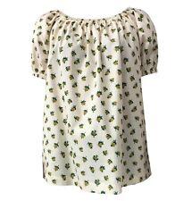 ATTIC AND BARN camicia donna mezza manica ecru/giallo stampa ananas mod ROSALINA