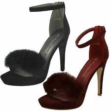 Ladies Anne Michelle Ankle Strap Faux Fur Heels
