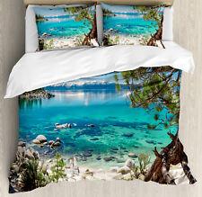 Romantic Duvet Cover Set with Pillow Shams Tahoe Snowy Mountain Print