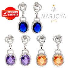 Orecchini pendenti in argento 925 con zirconi bianchi,blu,viola ed arancioni