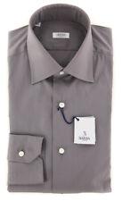 New $325 Barba Napoli Gray Solid Shirt - Slim - (BN238080310)