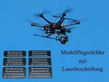 3x Adressschilder Kennzeichen Plakette Schild Drohne UAV Copter Flugzeugmodell