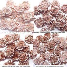 12 Blush Rose Gold Pearl Mix Sugar Roses wedding cake decorations 4 OPTIONS 30mm