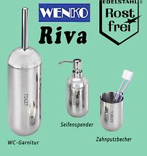 Wenko Zahnputzbecher Seifen-Duschlotion-Spender WC-Garnitur Badezimmer Edelstahl