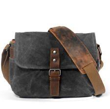 Retro Oil Wax Cotton Canvas+Leather DSLR Camera Bag Shoulder Messenger Bag Grey