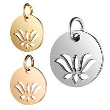 5pcs Jewelry DIY Accessories Hollow Lotus Pendant Charms for Bracelet Necklace