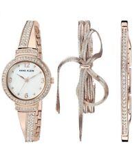 Anne Klein AK-3256RGST Swarovski Crystal Rose Gold  Watch and Bracelet Set 3PC