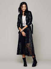 NWT $168 Free People Skirt Maxi Long Pretty Pleats Black Lace Sz 0 & 4