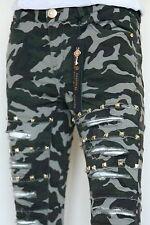 Damen Jeans Hose Army Camouflage Risse Goldene Ziersteine Vorn Gr.34-42