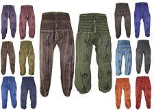 Hippie Boho Retro Gipsy Colorati Slavato Con Stampa Simbologia Genio Pantaloni