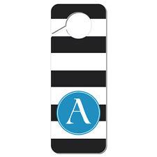 Do Not Disturb Door Knob Hanger Sign Blue Letter Black White Stripes Monogram