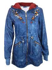 Jacke 34 36 40 42 44 blau Blumen Sweat Kapuze Hoody Jeans Optik warm gefüttert