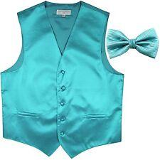 New men's tuxedo vest waistcoat & bow tie horizontal stripe prom turquoise blue