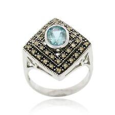 925 Silver Blue Topaz & Marcasite Diamond Shape Ring