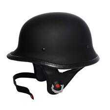 Matte Black DOT German Motorcycle Street Half Helmet Chopper Cruiser Biker M~XL