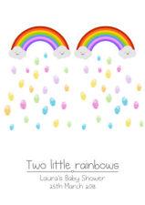 BABY SHOWER / BIRTHDAY / CHRISTENING PERSONALISED TWINS RAINBOW FINGERPRINT TREE