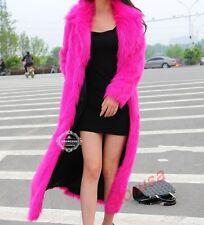 Ladies Slim Fit Long Sleeve Faux Fur Windbreaker Full Length Coat Jacket Parkas