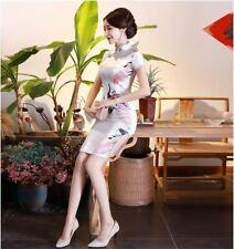 New Luxurious White Satin Phoenix Chinese Short Dress Cheongsam Qipao lcdress81
