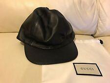 NUOVO Gucci Neri In Pelle Berretto Da Baseball Cappello Taglie M L Prezzo Consigliato £ 325