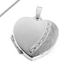 MEDAILLON Herz Eismatt Amulett auch Kette Gravur zB Sternzeichen oder Kyrillisch