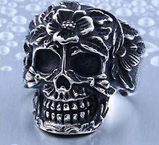 Men Gothic Flower Suga Skull Biker Ring Mens Goth Jewelry Silver Skull Cool Ring