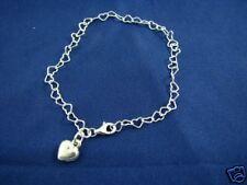 Sterling Silver Heart Links with Heart Charm Bracelet