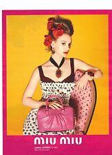 PUBLICITE ADVERTISING  2012  MIU MIU Vétements acs par Mia WASIKOWSKA