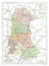 International Map - Palencia Province Spain - Pompido's Atlas 1913 - 23 x 30.76