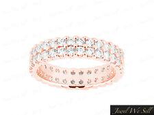 3.50Ct Round Cut Diamond 2Row U-Prong Eternity Band Wedding Ring 14K Gold I SI2